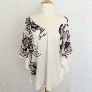 Guess White Brown Floral Batwing Blouse  Size XL